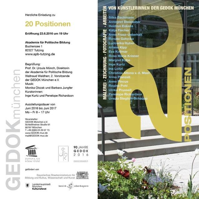 20 Positionen – Jahresausstellung 2016 der GEDOK München